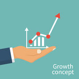 Growth concept vector. Growth concept. Man hold in hand business chart. Financial diagram, graphics. Vector illustration flat design. Isolated on background Stock Images