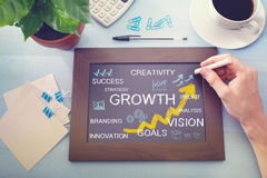 Growth concepts drawn on a chalkboard. Growth, success, creativity, vision and profit concepts being drawn on a chalkboard Stock Photography