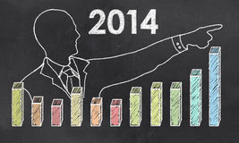Growth in 2014 with Creative Businessman Royalty Free Stock Photo