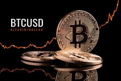 Growth of the crypto currency in the financial market. Growth bitcoin in relation to the dollar. Growth of the crypto currency in the financial market Stock Photos