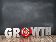 GROWTH 3D Word with Target on Chalkboard Background. High Quality 3D Rendering stock illustration