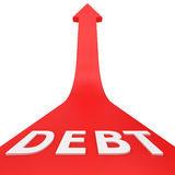 Growth of debt. Word DEBT on the red arrow moving up Stock Photo
