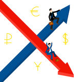 Growth, decline. Businessmen hold for growing top arrow signs. Business Men roll down . vector illustration