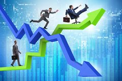The growth and decline concept with businessmen royalty free illustration