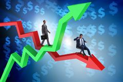 The growth and decline concept with businessmen. Growth and decline concept with businessmen stock photo