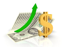The growth of the dollar. The dollar sign and a green arrow in the background bills Stock Photos
