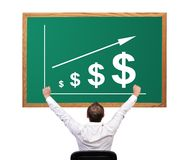 Growth dollar on desk Royalty Free Stock Photos