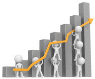 Growth. Dude 3D characters X7 business people pushing up orange Graph. Dark Gray Bars Royalty Free Stock Photo