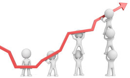 Growth. Dude 3D characters X7 business people pushing up Red Graph. White background Stock Image