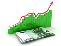 Growth euro chart. 3D. Growth euro chart. Business concept images. 3D render Royalty Free Stock Images