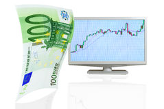 Growth of the the euro. Royalty Free Stock Photography