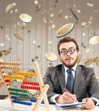 Growth exponential gain. Financial businessman astonished by wealth and success Stock Images