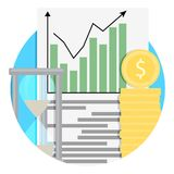 Growth of financial capital icon. Analysis and management strategy, saving capital. Vector illustration Royalty Free Stock Photos
