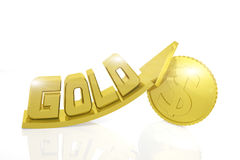 Growth in gold prices. 3d render Royalty Free Stock Photos