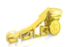 Growth of gold reserves. 3d render Stock Photo
