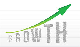 Growth graph and arrow over a notepad paper Stock Photo
