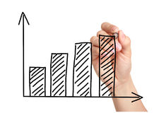 Growth Graph on Blackboard Stock Image