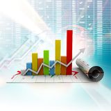 Growth graph. Business growth graph in digital background Stock Image