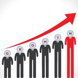 Growth graph with businessman s face Royalty Free Stock Images