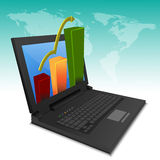 Growth graph chart on laptop. Illustration of growth graph chart on laptop Stock Photography