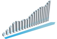 Growth graph charts system progress. Growth graph with a forward pointing arrow charts the up and down progress of a business system Stock Images
