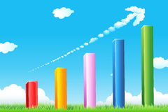 Growth graph with cloudy arrow. Illustration of growth graph with cloudy arrow and grass Stock Photo