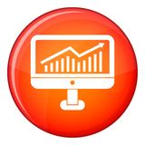 Growth graph on the computer monitor icon. In red circle isolated on white background vector illustration Royalty Free Stock Images