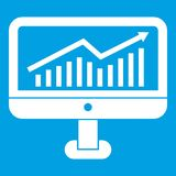 Growth graph on the computer monitor icon white. Isolated on blue background vector illustration Royalty Free Stock Image