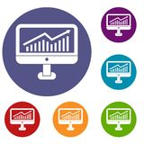 Growth graph on the computer monitor icons set. In flat circle reb, blue and green color for web Stock Photography