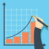 Growth graph concept. Businessman draws chart of financial level up. Stock Image