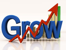 Growth graph curve. A growth curve going up with graph in background and arrow rising in foreground Stock Images