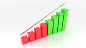 Growth graph 3d illustration. White background Royalty Free Stock Photo