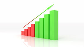 Growth graph 3d illustration. White background Stock Images