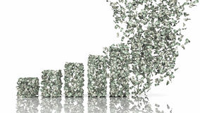 Growth graph from dollar banknotes Stock Photos