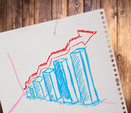 Growth graph draw on paper Stock Photos