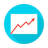 Growth Graph Flat Circle Icon. Growth Graph Circle Icon. Vector Illustration Flat Style Item with Long Shadow. Data Analysis Royalty Free Stock Image