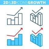 The growth graph. Flat and isometric 3d outline icon set. The business grow, increase, improve line pictogram collection. Vector linear infographic elements Royalty Free Stock Photo