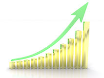 Growth graph of the green arrow and yellow cubes Stock Image