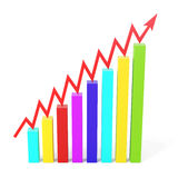 Growth graph isolated on white background. 3d illustration Royalty Free Stock Photo