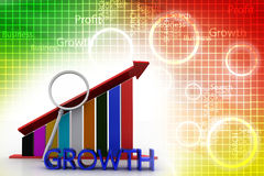 Growth graph with magnifier Illustration Stock Photography