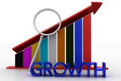 Growth graph with magnifier Stock Image