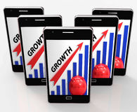 Growth Graph Means Financial Increase Or Gain. Growth Graph Meaning Financial Increase Or Gain Stock Photography