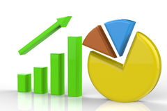 Growth graph and pie chart Royalty Free Stock Photo