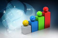 Growth graph with smiling balls Royalty Free Stock Photos