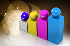 Growth graph with smiling balls Royalty Free Stock Image