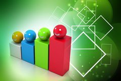 Growth graph with smiling balls Stock Images