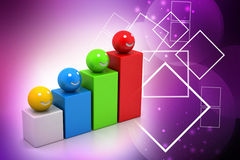 Growth graph with smiling balls Stock Photography
