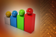 Growth graph with smiling balls Royalty Free Stock Images