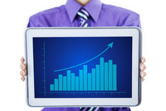 Growth graph on a tablet Royalty Free Stock Images