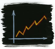 Growth graph in watercolor painting Stock Photos